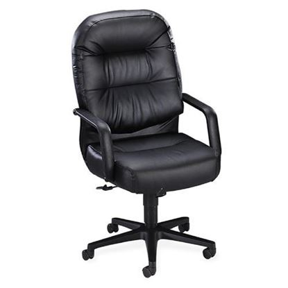 Picture of HON Pillow-Soft Executive High-Back Chair, Center-Tilt, Fixed Arms, Black Leather (H2091)